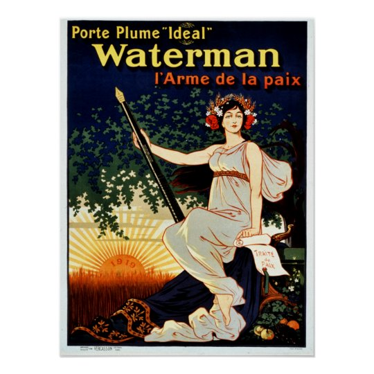 Vintage Waterman fountain pen advertising Poster