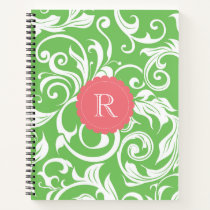 Vintage Watermelon Green Floral Wallpaper Monogram Notebook
