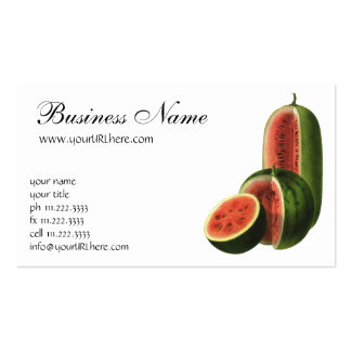 Vintage Watermelons, Organic Food Fruit Tall Round Business Card