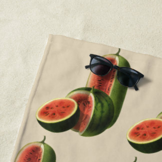Vintage Watermelons Tall Round, Organic Food Fruit Beach Towel