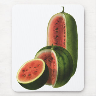 Vintage Watermelons Tall Round, Organic Food Fruit Mouse Pad