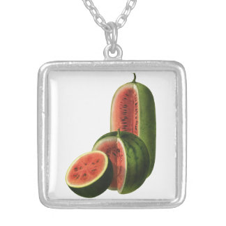 Vintage Watermelons Tall Round, Organic Food Fruit Silver Plated Necklace