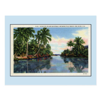 Vintage Waterway between Miami and Palm Beach Post Card