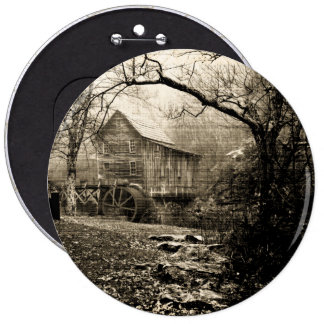 Vintage Waterwheel Pinback Button