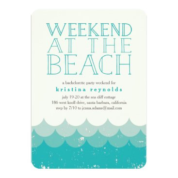 Beach Themed Vintage Waves Beach Weekend Getaway Invitation