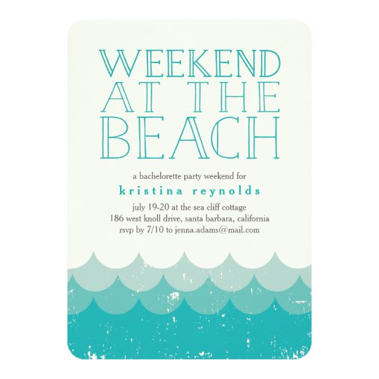 Vintage Waves Beach Weekend Getaway Invitation Zazzlecom