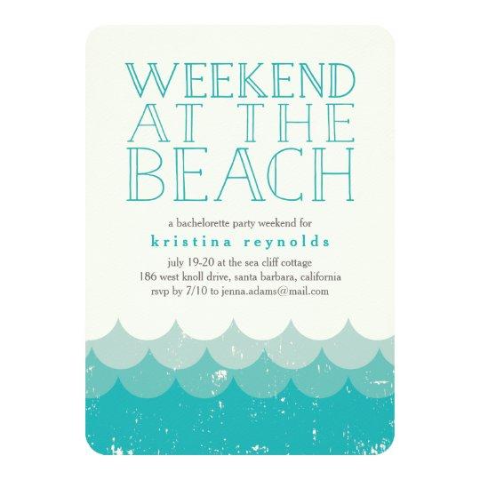 Vintage Waves Beach Weekend Getaway Invitation Zazzle Com