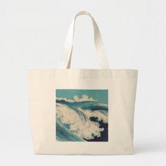 Vintage Waves Japanese Woodcut Ocean Bags