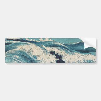 Vintage Waves Japanese Woodcut Ocean Bumper Sticker