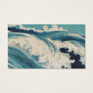 Vintage Waves Japanese Woodcut Ocean Business Card