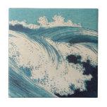 Vintage Waves Japanese Woodcut Ocean Small Square Tile