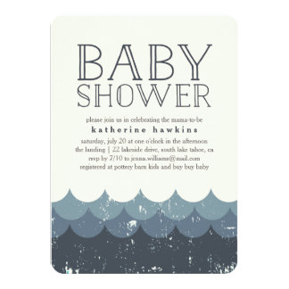 Vintage Waves Navy Baby Shower Invitation