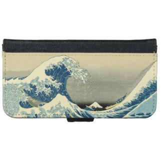Vintage Waves Ocean Sea Boat Wallet Phone Case For iPhone 6/6s