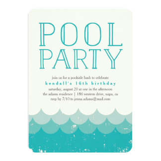 Vintage Waves Pool Party Invitation