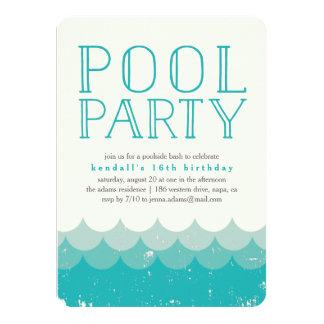Vintage Waves Pool Party Invitation