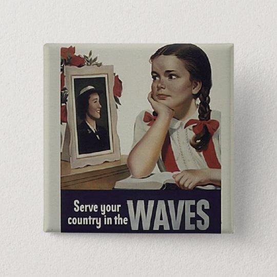 Vintage Waves Square Button