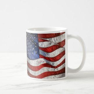 Vintage Waving American Flag Personalized Coffee Classic White Coffee Mug
