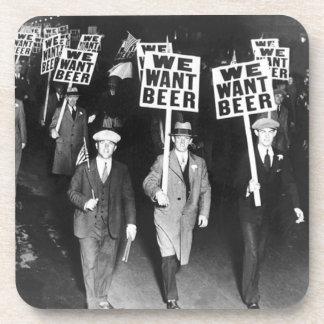 Vintage We Want Beer Prohibition Protest Beverage Coaster