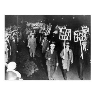 Vintage We Want Beer Prohibition Protest Postcard