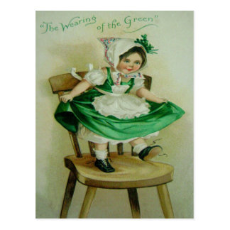 Vintage Wearing Of The Green St Patrick's Greeting Postcard