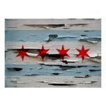 Vintage Weathered Flag of Chicago Poster
