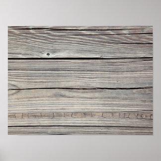 Vintage Weathered Wood Background - Old Board Poster