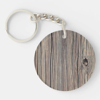 Vintage Weathered Wood Background - Old Wooden Single-Sided Round Acrylic Keychain