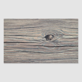 Vintage Weathered Wood Background - Old Wooden Rectangular Sticker