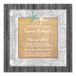 Vintage Weathered Wood Framed Starfish Wedding Custom Announcements