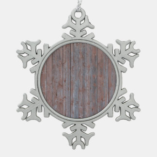 Vintage weathered wood wall texture snowflake pewter christmas ornament
