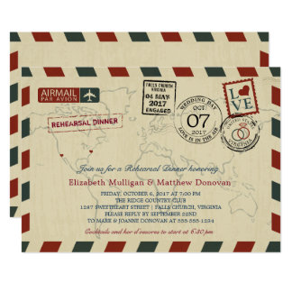 Vintage Wedding Airmail |  Rehearsal Dinner Card