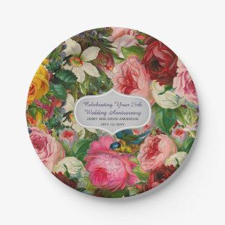 Vintage Wedding Anniversary ROSES - Commemorative Paper Plate