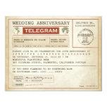 """vintage wedding anniversary telegram invitation 4.25"""" x 5.5"""" invitation card"""
