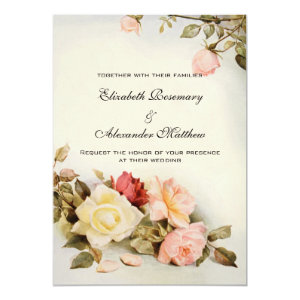 Vintage Wedding Antique Garden Rose Flowers Floral 5x7 Paper Invitation Card