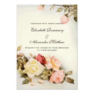"Vintage Wedding Antique Garden Rose Flowers Floral 5"" X 7"" Invitation Card"