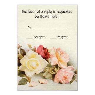Vintage Wedding Antique Garden Rose Flowers RSVP 3.5x5 Paper Invitation Card