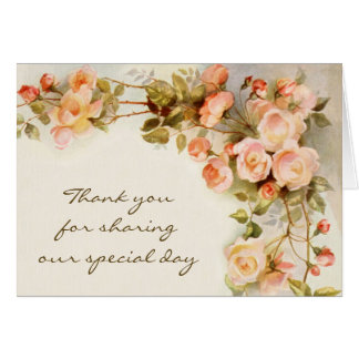 Vintage Wedding Antique Pink Rose Flower Thank You Card