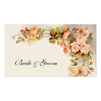 Vintage Wedding, Antique Pink Rose Flowers Floral Double-Sided Standard Business Cards (Pack Of 100)