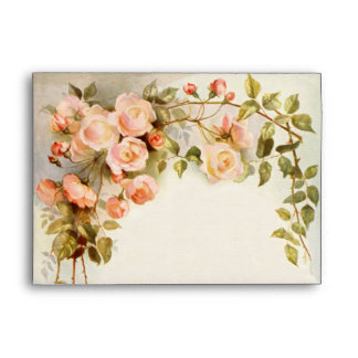 Vintage Wedding, Antique Pink Rose Flowers Floral Envelope