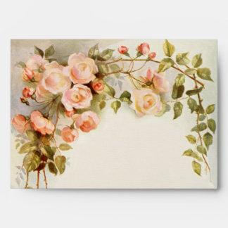 Vintage Wedding, Antique Pink Rose Flowers Floral Envelopes