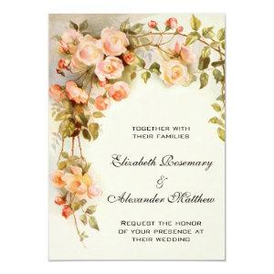 Vintage Wedding, Antique Pink Rose Flowers Floral 5x7 Paper Invitation Card