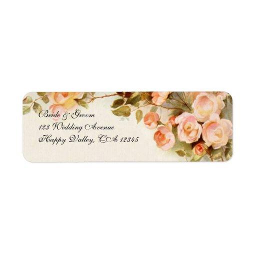 Vintage Wedding, Antique Pink Rose Flowers Floral Labels