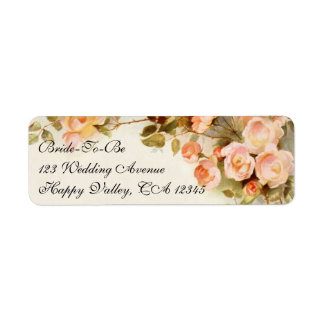 Vintage Wedding, Antique Pink Rose Flowers Floral Return Address Labels