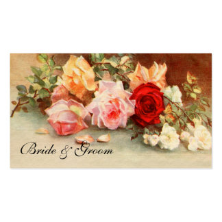 Vintage Wedding, Antique Rose Flowers Floral Art Double-Sided Standard Business Cards (Pack Of 100)