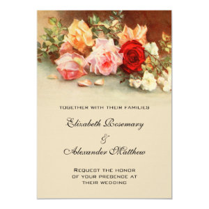 Vintage Wedding, Antique Rose Flowers Floral Art 5x7 Paper Invitation Card