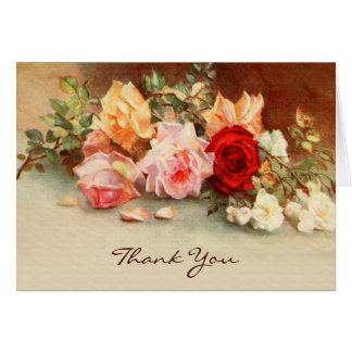 Vintage Wedding, Antique Roses Flowers, Thank You Stationery Note Card