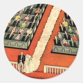 Vintage Wedding, Art Deco Bride and Groom Newlywed Classic Round Sticker