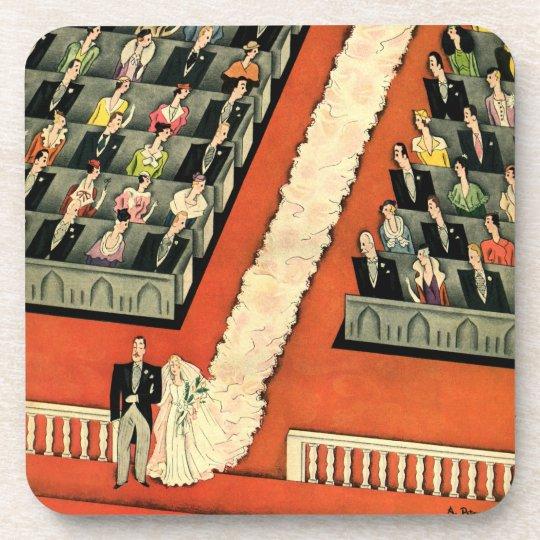 Vintage Wedding, Art Deco Bride and Groom Newlywed Drink Coaster
