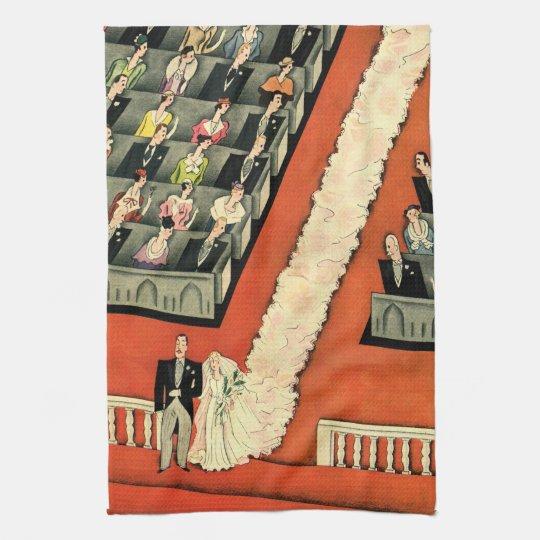Vintage Wedding, Art Deco Bride and Groom Newlywed Kitchen Towel