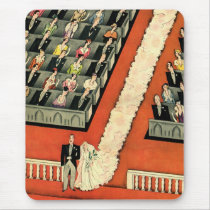 Vintage Wedding, Art Deco Bride and Groom Newlywed Mouse Pad